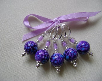 Purple Speckled Art Glass Stitch Markers for Knitting or Crochet