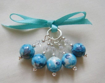 Turquoise Ocean Jade Stitch Markers for Knitting or Crochet