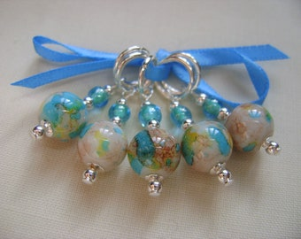 Arthemis Marbled Stitch Markers for Knitting or Crochet