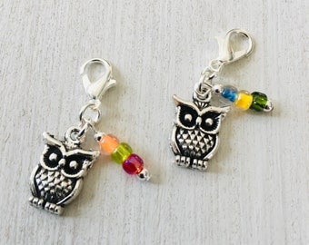 Little Owls Progress Markers/Stitch Markers for Knitting or Crochet set of 2