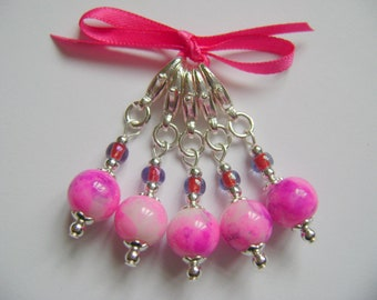Bright Pink Marbled Stitch Markers for Knitting or Crochet