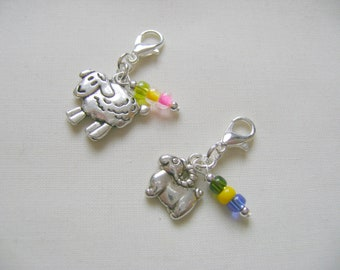 Sheep and Ram Progress Markers/Stitch Markers for Knitting or Crochet set of 2