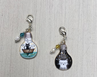 Cat Friends Progress Markers/Stitch Markers for Knitting or Crochet set of 2
