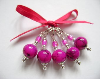 Deep Pink Marbled Glass Stitch Markers for Knitting or Crochet