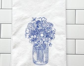 Embroidered Kitchen Towel - Blue Mason Jar with Flowers - Kitchen Linens - Dish Towel - Farmhouse Towel - Floral Decor - Flour Sack Towel