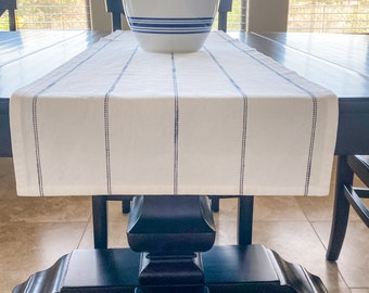 Farmhouse Striped Table Runner - White Table Runner with Navy Dolby Stripes - Patriotic - Farmhouse - Rustic Table Runner - Summer Linens
