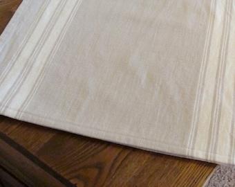 Striped Cotton Table Runner - Flax and Natural - Grain sack Stripe Runner - Home Decor - Cottage Decor - Farmhouse Table Runner