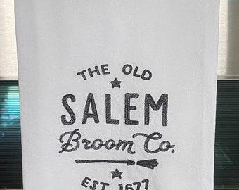 Embroidered  Flour Sack Towel - Salem Broom Company Sign - Halloween Dish Towel - Tea Towel - Flour Sack Towel