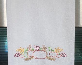 Embroidered Flour Sack Towel - Pumpkin Harvest Border - Kitchen Towel - Dish Towel - Fall Decorating - Autumn Decor