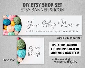 shop icon receipt banner mini banner Yarn Etsy Shop Set Kit complete with big banner and two fonts! listing cover photo