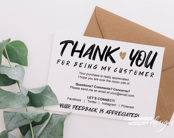 Instant Editable Purchase Thank You Card Printable Packaging Etsy