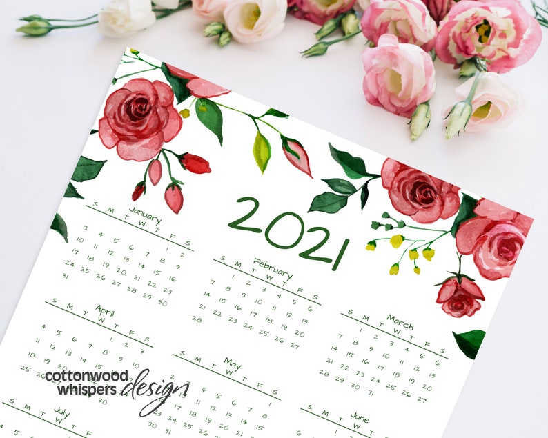 Year At A Glance Calendar 2021 Printable Calendar Letter ...