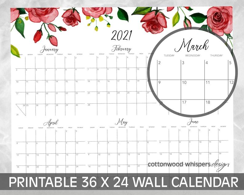 2021 Wall Calendar Printable Poster Large Format 24x36 ...