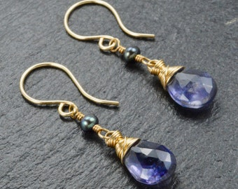 Real Fashion Iolite Earrings For Women Real Stone Butterfly Back Jewelry Round Shape Cut Faceted Handmade
