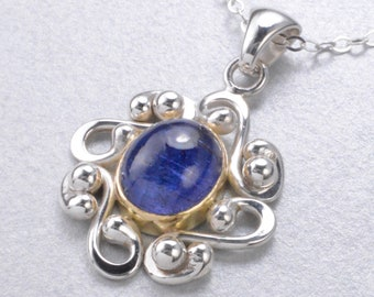 "Handmade In Alaska 4.8 carat Tanzanite in 18K Gold & Argentium Sterling Silver Filigree Pendant W/ 18"" Chain"