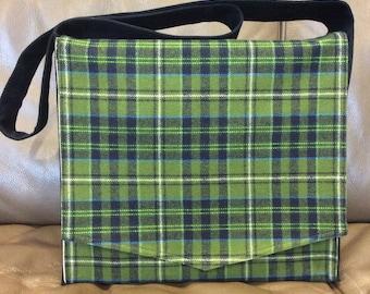 Green Plaid Large Messenger Bag