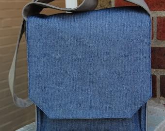 Fashionable Blue Denim Herringbone Shoulder Bag