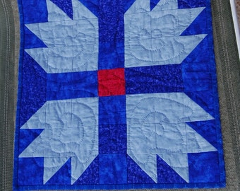 Blue Bear Paw Quilted Wallhanging