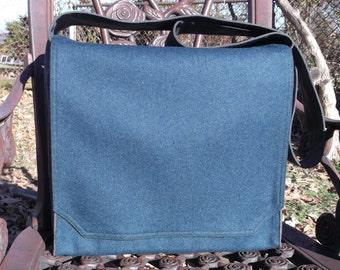 Blue Wool Flannel Large Messenger Bag