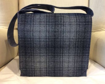 Grey Plaid Large Messenger Bag