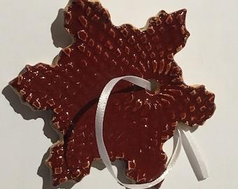 Item 339 - Snowflake Ornaments - Red/Orange