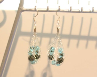 Caged Crystal - Auqa and Black