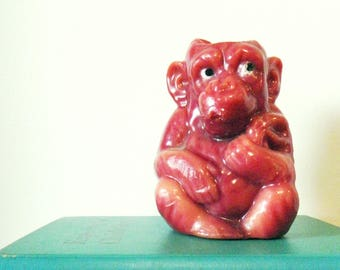 1970s Vintage Sitting Monkey Candle / Retro Home Decor / Kitschy Unique Vintage Candle