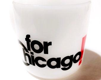 Rare Vintage Milkglass Chicago Mug / Retro Novelty Mug / Collectible Chicago Coffee Cup / Federal Glass