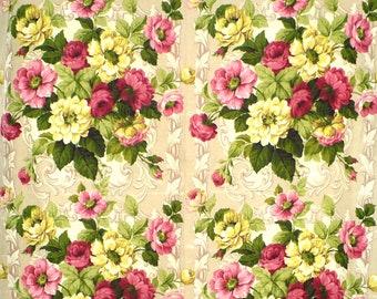 Vintage Cotton Green /& Orange Flowers 50's Kitchen Curtain Fabric 18x22 Inch FQ