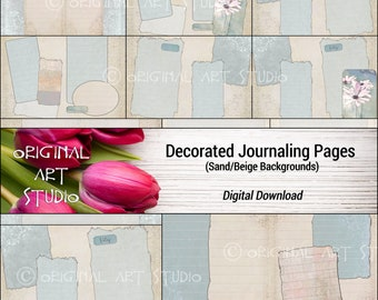 Decorated Journaling Pages (Sand/Beige Backgrounds)