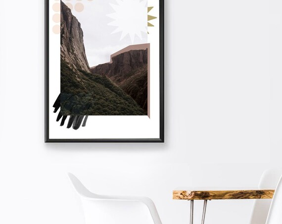 NEWFOUNDLAND #04 // landscape photography, 18x24, minimalist art, geometric print, collage, photography montage, mountain, sea, graphic art