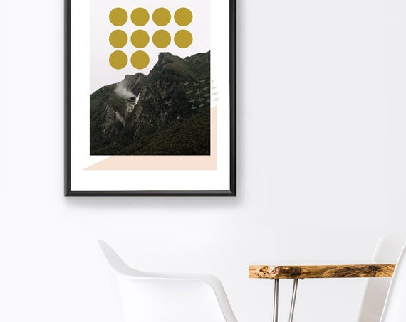 NEWFOUNDLAND #02 // landscape photography, 18x24, minimalist art, geometric print, collage, photography montage, mountain, sea, graphic art