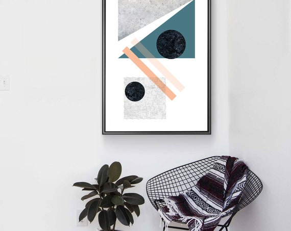 LOLA_3 ABSTRACT LANDSCAPE // Mid Century Poster, 24x36, art geometrique, abstrait, blue, Minimalist, Scandinavian art, pink