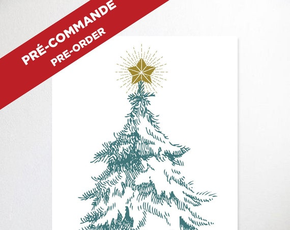 PRE-ORDER >> CHRISTMAS tree poster  // christmas poster, 24X36, 2x3 foots, minimalist print, vintage tree, drawing tree
