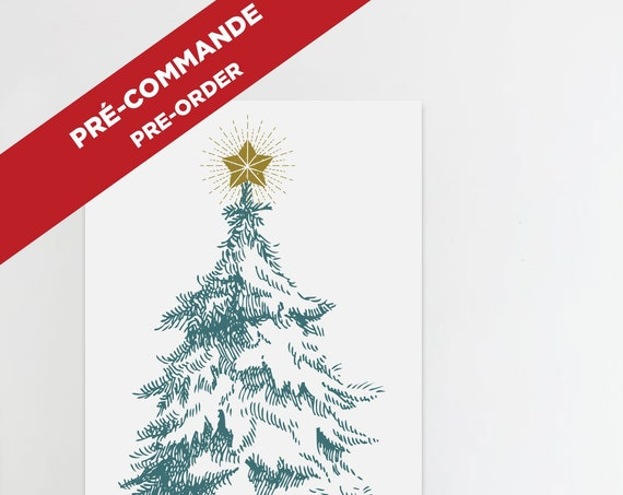 PRE-ORDER // CHRISTMAS tree poster  // christmas poster, 36X55 inch, 3x5 foots minimalist print, vintage tree, drawing tree