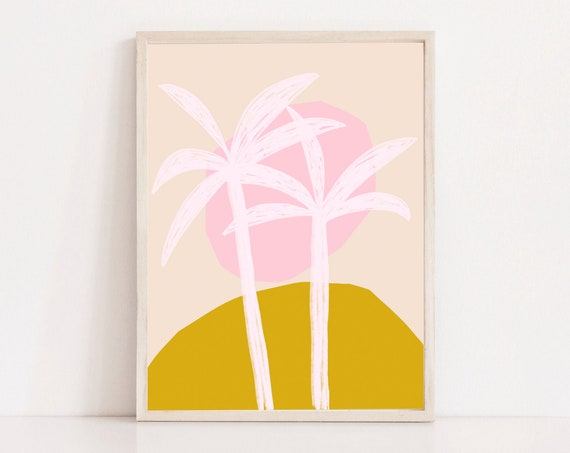 PALMS TREE //  Mid Century Poster, 8x10, 10x10, 18x24, minimalist art print, Pastel colors, abstract, art