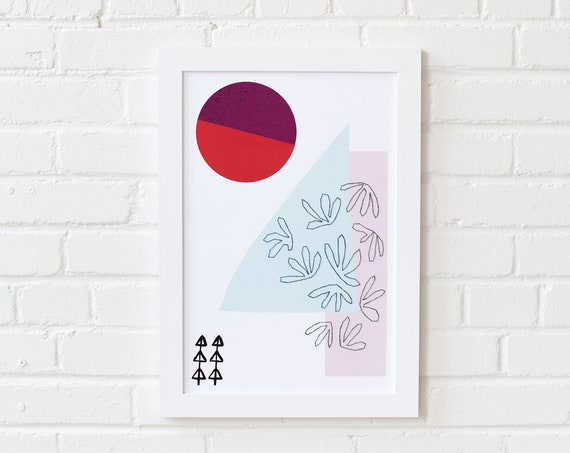 Meeting Point-03 //  LIMITED EDITION // 12x18, Minimalist embroidered poster, mid-century inspiration, geometric shapes, orange, purple