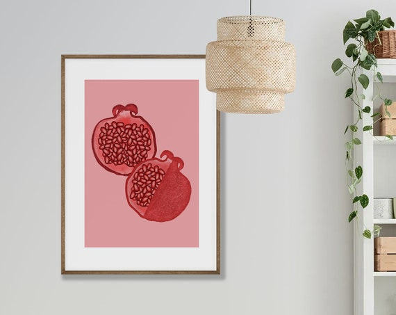 POMEGRANATE // Abstract Poster, 8x10, 10x10, 18x24, minimalist art print, Pastel colors, boho, vintage, pink, red