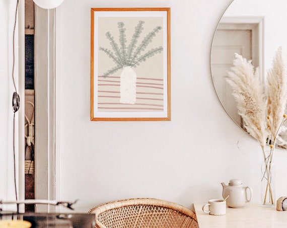 PLANT #02 //  abstract poster, 8x10, 12x16, 18x24, minimalist art print, Pastel colors, abstract, art, boho poster
