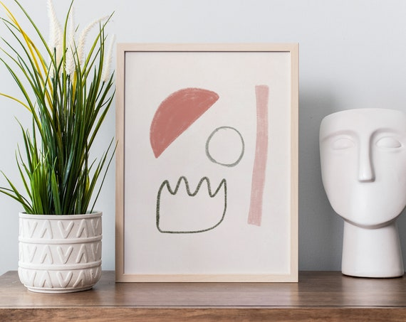MELI MELO Mid century // Abstract Poster, 8x10, 10x10, 18x24, minimalist art print, Pastel colors, boho, vintage