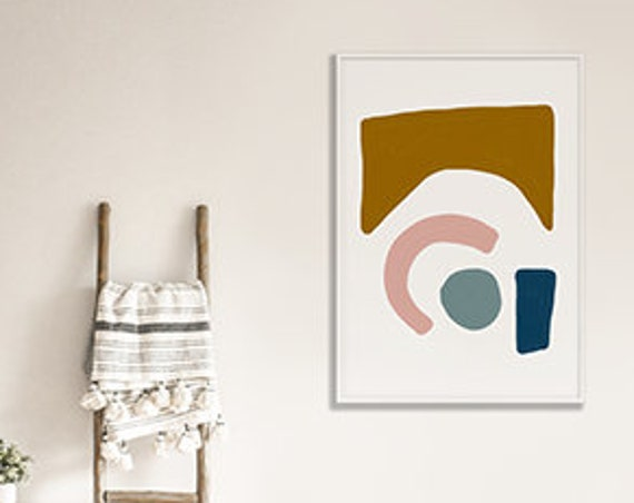 MID CENTURY SHAPES //  abstract poster, 8x10, 10x10, 18x24, minimalist art print, Pastel colors, abstract, art