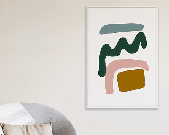 MID CENTURY SHAPES #02 //  abstract poster, 8x10, 10x10, 18x24, minimalist art print, Pastel colors, abstract, art