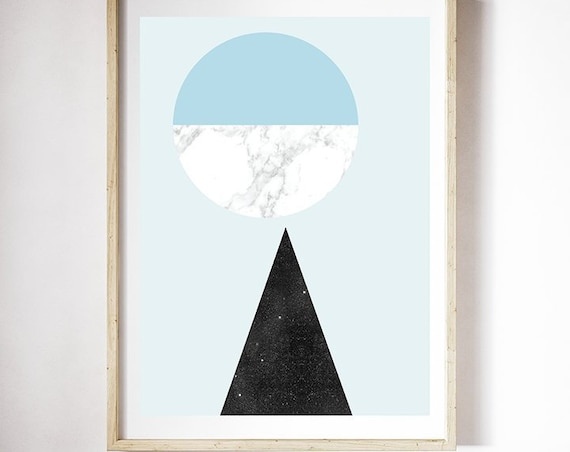 UPSIDE DOWN // Mid Century poster, 12X18, abstract art, triangle, blue, marble