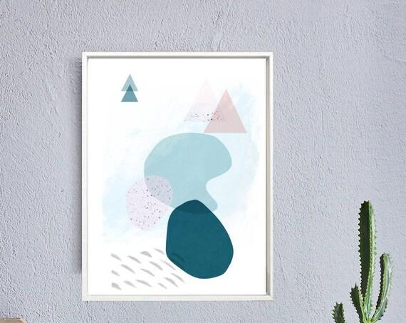 DOUX PRINTEMPS #8 // poster, Abstract art, 12x18, minimalist art print, geometric print, mid century, Scandinavian style, triangles