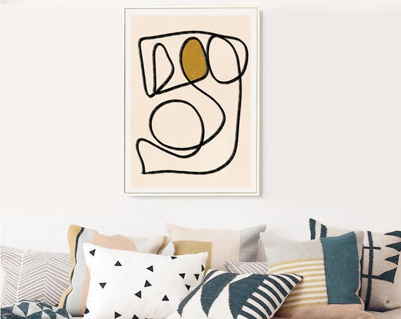 CONTORTIONIST // Mid Century Modern poster, 18x24, abstract art, scandinavian, yellow, black