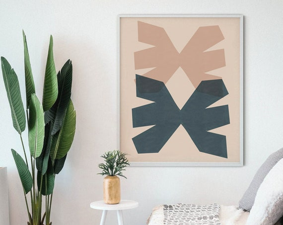 DUO MID CENTURY //  Mid Century Poster, 8x10, 18x24, 24x36 minimalist art print, Pastel colors, abstract, art, geometry
