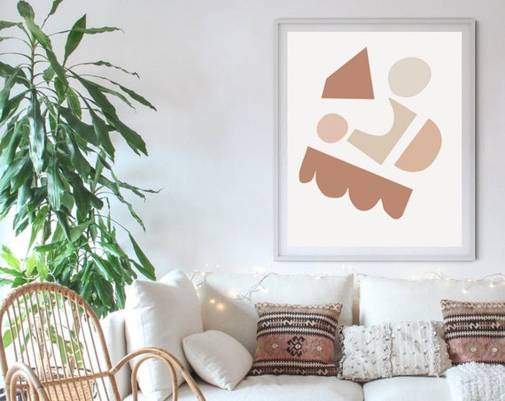 GEOMETRY //  Mid Century Poster, 8x10, 10x10, 18x24, minimalist art print, Pastel colors, abstract, art