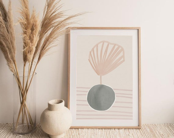 PLANT #04 //  abstract poster, 8x10, 12x16, 18x24, minimalist art print, Pastel colors, abstract, art, boho poster