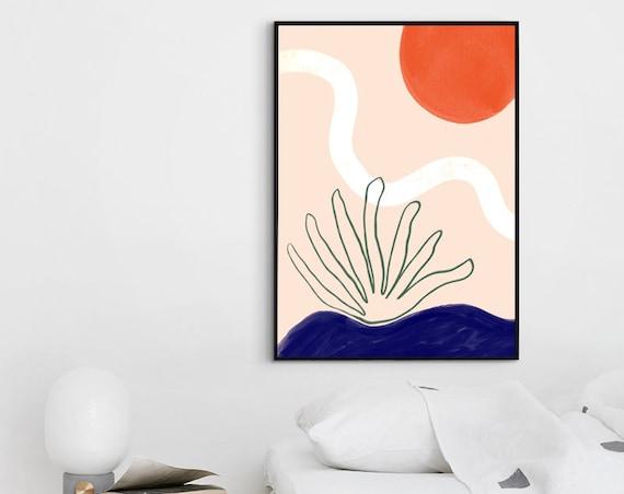 LANDSCAPE ABSTRACT //  Mid Century Poster, 8x10, 12x16, 18x24, minimalist art print, landscape, art