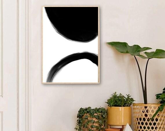 BLACK and WHITE // Mid Century Poster,  8X10, art geometrique , abstrait